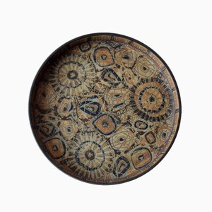 Piatto grande rotondo BACA vintage marrone di Nils Thorsson per Royal Copenhagen