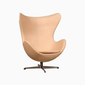 Mid-Century 3316 Vegetal Leather Egg Chair by Arne Jacobsen for Fritz Hansen, 1964