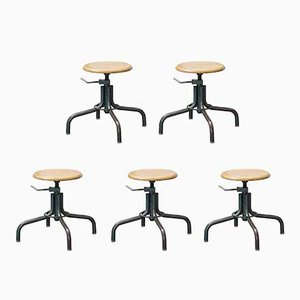 Vintage French Stools by Henri Libier for Flambo, Set of 5