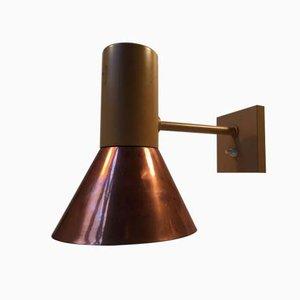 Lámpara de pared danesa grande de cobre de Fog & Mørup, años 70