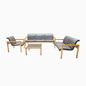 Grupo de asientos System Zwo vintage de cuero y madera de Flötotto