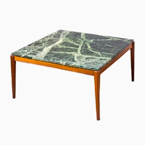 Danish Square Coffee Table in Teak and Deep Green Marble, 1960s