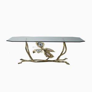 Tavolino da caffè vintage in bronzo e vetro di Henri Fernandez, anni '70