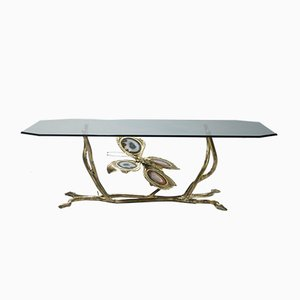 Vintage Bronze & Glass Coffee Table by Henri Fernandez, 1970s