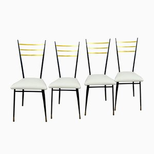 Mid-Century Black Lacquered Metal, Brass, and White Pleather Dining Chairs, 1950s, Set of 4