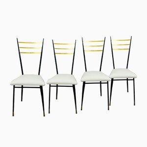 Schwarz Lackierte Mid-Century Esszimmerstühle aus Metall, Messing & Weißem Kunstleder, 1950er, 4er Set
