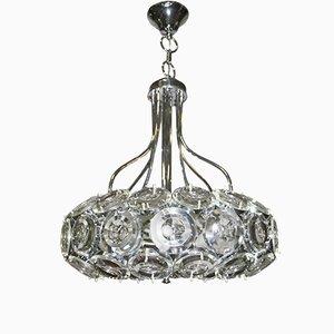 Lámpara de araña italiana vintage de acero y vidrio, años 70