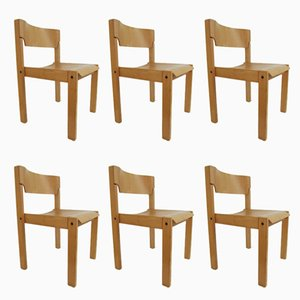 Scandinavian Minimalist Chairs, 1970s, Set of 6