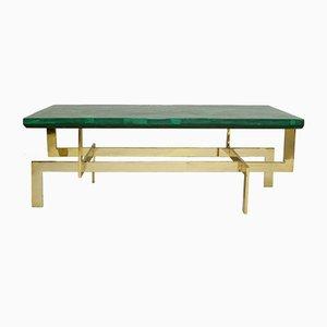 Mesa de centro de malaquita y latón dorado, años 60