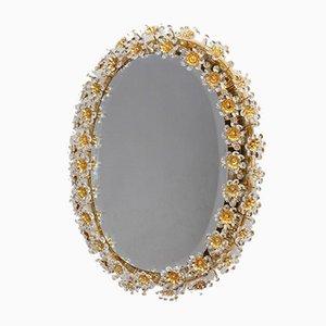 Runder Hinterleuchteter Spiegel mit Blumen-Rahmen aus Gold Facettiertem Kristallglas von Palwa, 1950er