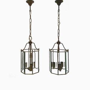 Lantern-Style Pendant Lamps, 1960s, Set of 2