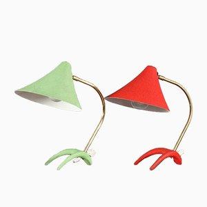 Lámparas de mesa de Louis Kalff, años 50. Juego de 2