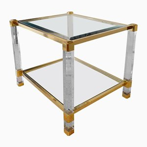 Mid-Century French Plexiglas, Brass, and Glass Coffee Table, 1980s