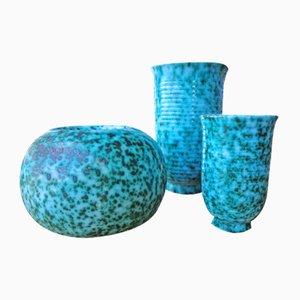 Französische Keramik Vasen von Elchinger, 1950er, 3er Set