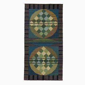 Modernistischer Schwedischer Flachgewebe Teppich von Vannerus-Rydgran Inga-Mi für Jönköpings Läns Hemslöjd, 1960er