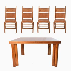 Mid-Century Kentucky Chairs and Scuderia Table by Carlo Scarpa for Bernini, 1977, Dining Set