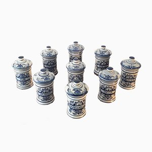 Hand Painted Pharmacy Jars from Paterna Maiolica d'Art, 1970s, Set of 9