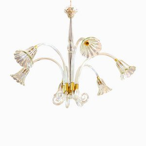 Vintage Murano Glass and Brass Chandelier by Ercole Barovier, 1930s