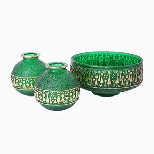Deutsche Glas Schale & 2 Vasen von Walther Glas, 1960er