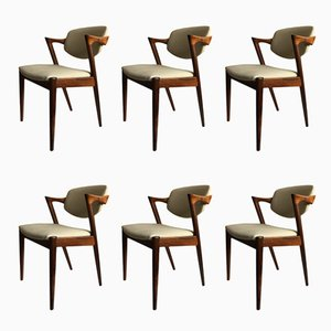 Model 42 Chairs by Kai Kristiansen for Schou Andersen, 1960s, Set of 6