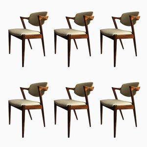 Sedie modello 42 di Kai Kristiansen per Schou Andersen, anni '60, set di 6