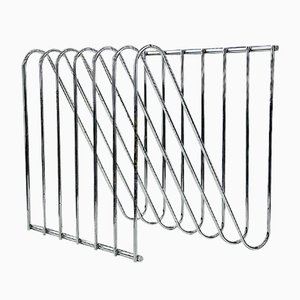 Industrial Chromed Steel Magazine Rack by François Arnal, 1970s