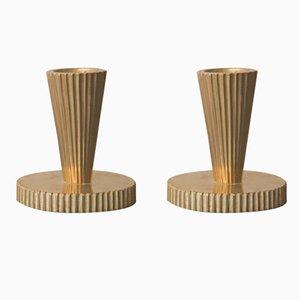 Art Déco Kerzenständer aus Bronze von Tinos, 2er Set