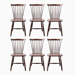 Skandinavische Stühle mit Sprossen Rückenlehnen von Nässjö, 1967, 6er Set