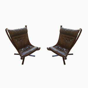 Mid-Century Danish Chocolate Brown Falcon Armchairs by Sigurd Ressell, 1970s, Set of 2