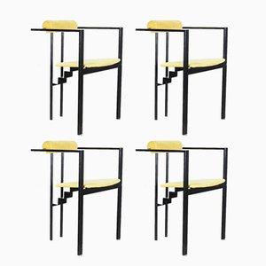 Italienische Stühle aus Metall & Stoff, 1980er, 4er Set