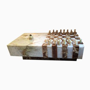 Vintage Onyx Chessboard Coffee Table