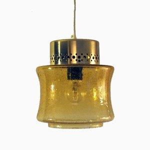 Lámpara colgante danesa vintage de latón y vidrio