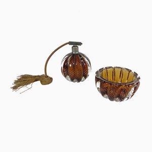 Italienische Vintage Murano Glas Schminkdose und Flakon von Gianni Seguso, 1920er