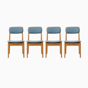 Holzstühle aus Blauem Kunstleder von Fritz Emme, 1957, 4er Set