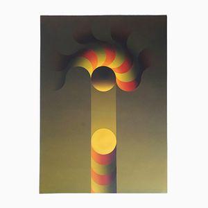 Op Art Pochoir Serigraph by Julio Le Parc, 1980s