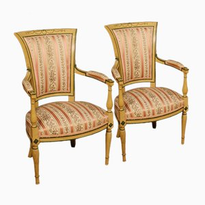 French Lacquered and Painted Armchairs, 1950s, Set of 2