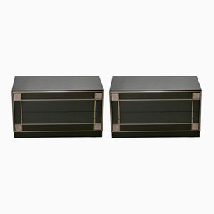 Brass Lacquered Bedside Tables from Roche Bobois, 1975, Set of 2