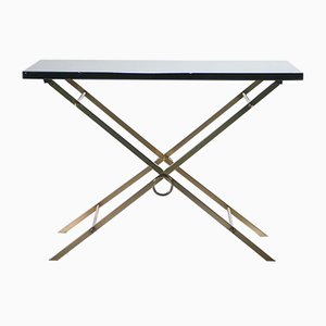 Brass Black-Lacquered Side Table, 1960s