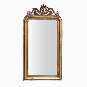 Antique French Louis Philippe Mirror with Carved Wreath and Harp