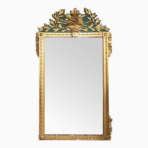 18th-Century Large Carved and Painted Giltwood Trumeau Mirror