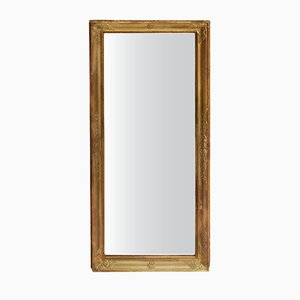 Specchio antico rettangolare in legno dorato