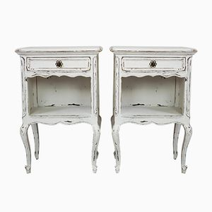 Antique French Oak Nightstands, 1850s, Set of 2