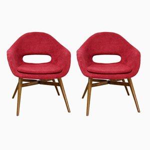 Sedie Shell rosse di Frantisek Jirak, anni '60, set di 2