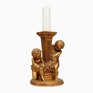 Vintage Neo-Classical Gilded Pillar Candle Holder