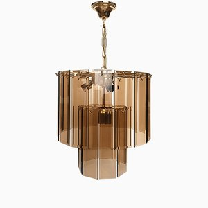 Pendant Chandelier in Smoked Glass and Brass, 1970s