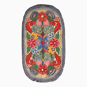 Handgemachter Antiker Amerikanischer Teppich mit Haken, 1920er