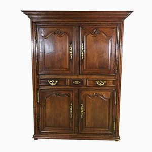 18th-Century Oak Cabinet with 4 Doors