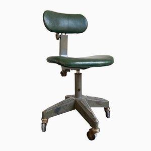 Chaise de Bureau Ajustable Vintage en Cuir