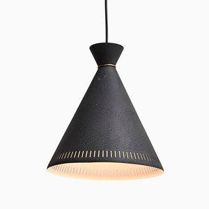 Lampe à Suspension Noire avec Bague en Laiton par Svend Aage Holm Sørensen pour Holm Sørensen & Co, 1950s