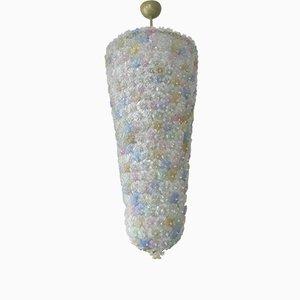Lampadario in vetro di Murano con fiori realizzati a mano, anni '80